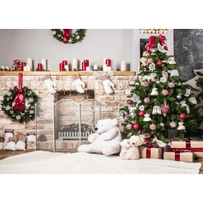 Christmas Tree Fireplace Wall Background Christmas Party Backdrops
