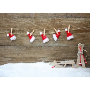 Christmas Hat Wood Wall Photography Background Christmas Backdrop