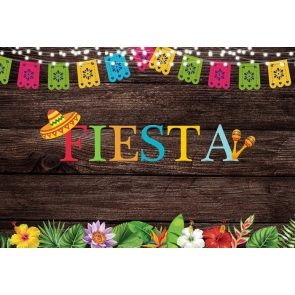 Mexican Element Wood Fiesta Party Backdrop Carnival Background