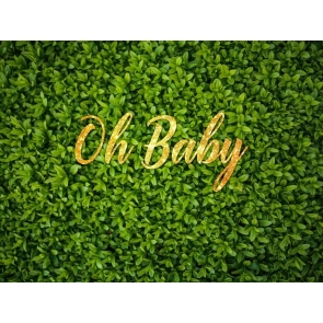 Grass Backdrop Golden Glitter Oh Baby Shower Photography Background