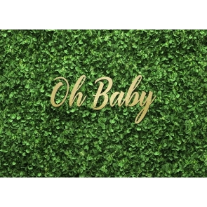 Oh Baby Shower Grass Backdrop Photography Background