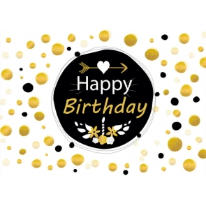 Gold Glitter Dots Happy Birthday Backdrop Decorations Photography Background