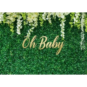 Green Grass Oh Baby Shower Backdrop Photography Background