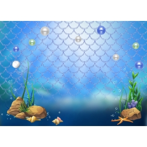 Blue Fish Scales Pearl Mermaid Background Birthday Party Backdrop