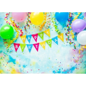 Girl Boy Banner Balloon Happy Birthday Backdrop Party Photography Background
