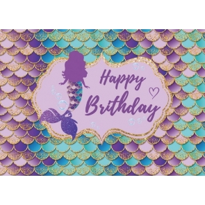 Mermaid Scales Wallpaper Happy Birthday Party Backdrop Photography Background