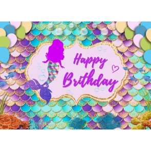 Mermaid Scales Happy Birthday Party Backdrop Photography Background
