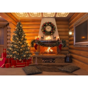 Luxury Wood House Christmas Tree Background Merry Christmas Party Backdrop