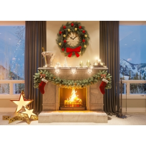 Luxury Fireplace Glass Window Background Merry Christmas Party Backdrop