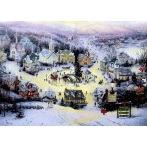 Snow Covered Town Merry Christmas Background For Stage Backdrop
