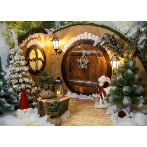 Wood Chalet Christmas Tree Background Christmas Party Backdrop For Stage