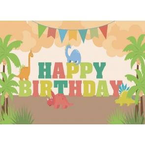 Cartoon Dinosaur Kids Happy Birthday Backdrop Cake Table Banner Photography Background