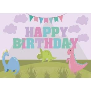 Kids Happy Birthday Cartoon Dinosaur Backdrop Cake Table Banner Photography Background