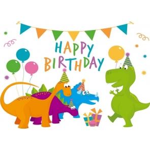 Children Gilrs Boys Happy Birthday Cartoon Dinosaur Backdrop Cake Table Banner Photography Background