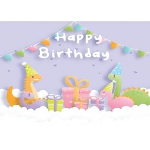 Cartoon Dinosaur Backdrop Children Gilrs Boys Happy Birthday Photography Background