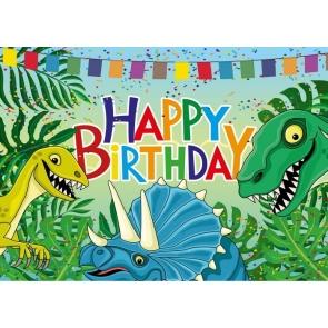 Cartoon Dinosaur Backdrop Children Happy Birthday Photography Background