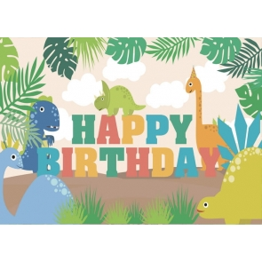 Cartoon Dinosaur Backdrop Gilrs Boys Kid Happy Birthday Photography Background