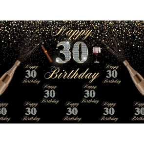 Black And Gold Combination Happy 30th Birthday Party Backdrop