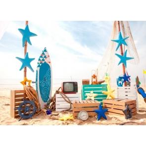 Summer Ocean Beach Backdrop Baby Shower BirthdayParty Photography Background