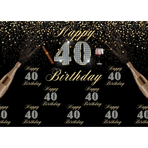 Black And Gold Combination Happy 40th Birthday Party Backdrop