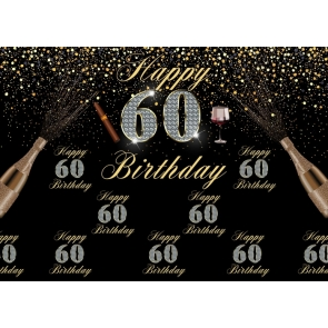 Happy 60th Birthday Party Backdrop Photography Background