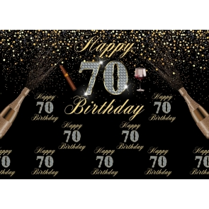 Happy 70th Birthday Party Backdrop Black And Gold Combination Background