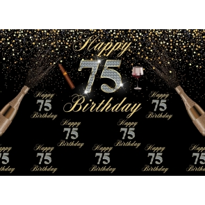 Happy 75th Birthday Photography Background Party Backdrop