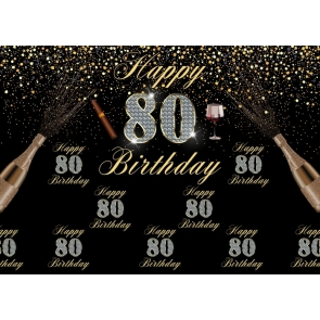 Black And Gold Combination Happy 80th Birthday Party Backdrop Photography Background