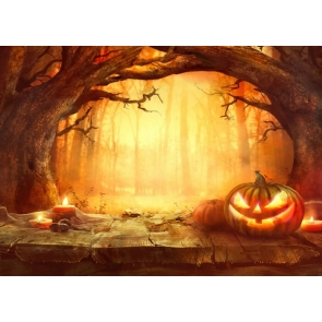 Pumpkin Forest Halloween Party Backdrop Stage Photography Background
