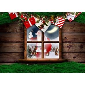 Santa Claus Outside Wood Board Window Christmas Party Backdrop