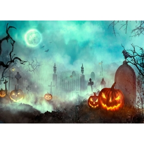 Under The Moon Sky Scary Cemetery Pumpkin Halloween Backdrop Party Stage Photography Background