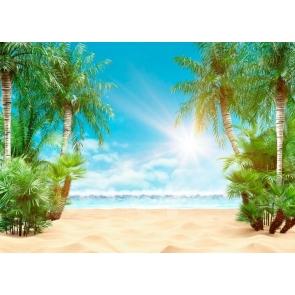 Summer Sunshine Tropical Summer Palm Tree Ocean Beach Backdrop