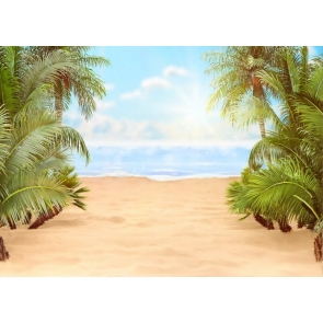 Palm Tree Leaves Sandy Beach Backdrop Party Photography Background