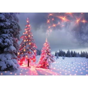 Snow Covered Christmas Tree Red Light Dress Up Christmas Party Backdrop
