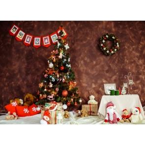 Cartoon Plush Toy Christmas Tree Background Christmas Party Backdrop