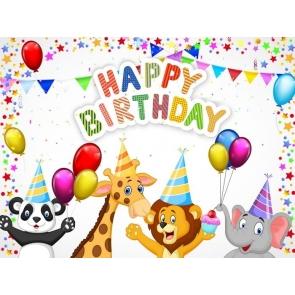 Cartoon Safari Backdrop Children Happy Birthday Party Photography Background