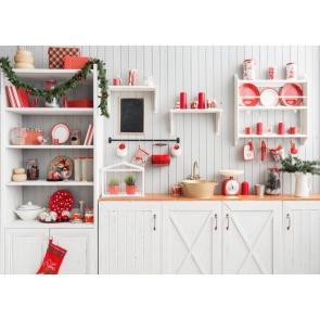White Wall Fake Kitchen Backdrop Christmas Photography Background
