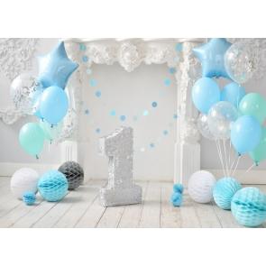 Balloon Theme Baby First 1st Happy Birthday Backdrop Cake Smash Decoration Background