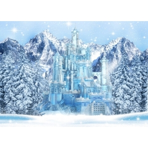Winter Snow Covered Forest Blue Ice Castle Christmas Backdrop Studio Photography Background