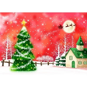 Sleigh Flying in Red Sky Christmas Tree Background Christmas Backdrops For Stage