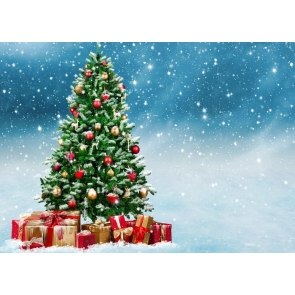 Snow Falling Christmas Tree Background Merry Christmas Party Backdrop
