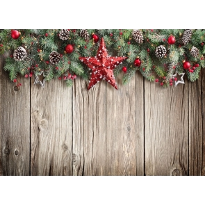 Christmas Tree Branch Red Pentagram wood Board Background Rustic Christmas Backdrop