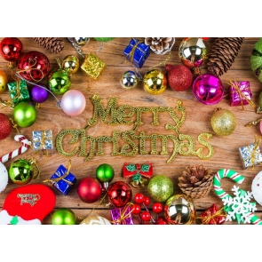 Various Color Christmas Balls Rustic Merry Christmas Wood Board Backdrop