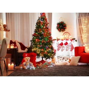 Christmas Tree Lights Background Merry Christmas Party Backdrop