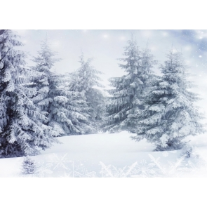 Winter Snow Covered Woods White Christmas Backdrop For Stage
