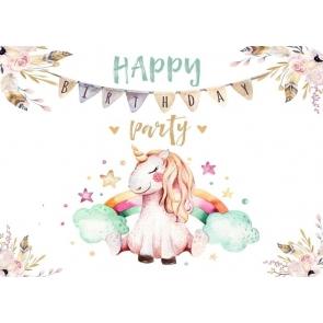 Cartoon Lovely Unicorn Backdrop Children Happy Birthday Party Photography Background