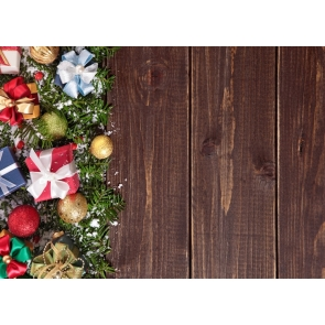 Various Gift Boxes Wood Board Rustic Christmas Backdrop