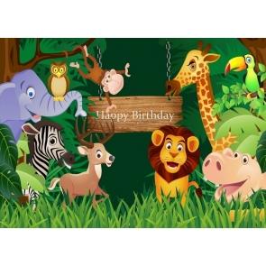 Cartoon Safari Happy Birthday Party Backdrop Photography Background