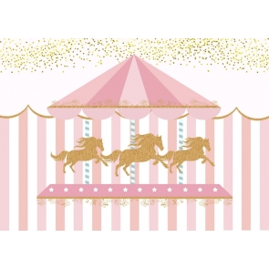 Pink Carousel Trojan Girl Baby Shower Happy 1st Birthday Party Backdrop Photography Background