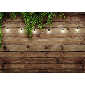 Fairy Lights Green Rattan Wood Backdrop Studio Party Photography Background